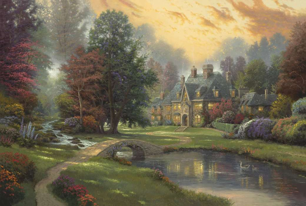 Landscape, Houses, Rivers, Bridges, Trees, Art