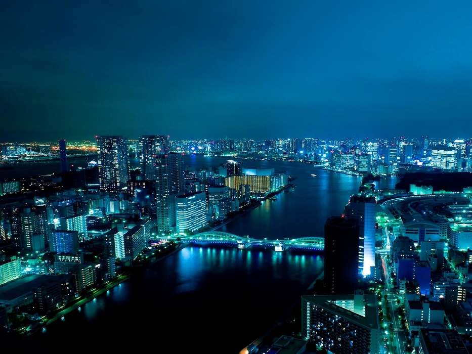 Cities, Night, Landscape, Rivers