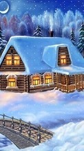 Landscape, Winter, Houses, Bridges, Night, Snow, Drawings para Sony Xperia ZR