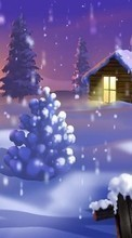 Descargar la imagen 1080x1920 Landscape, Winter, New Year, Snow, Fir-trees, Christmas, Xmas, Drawings para celular gratis.