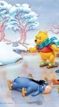 Descargar la imagen 1080x1920 Cartoon, Winter, ice, Snow, Drawings, Winnie the Pooh para celular gratis.